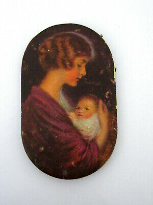 """Prudential Insurance NEEDLE CASE oval 1.5x2.5"""" Woman with Infant Vintage sewing"""