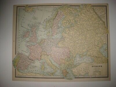 Vintage Antique 1887 Europe Map Germany Russia Italy France Austria Railroad Nr