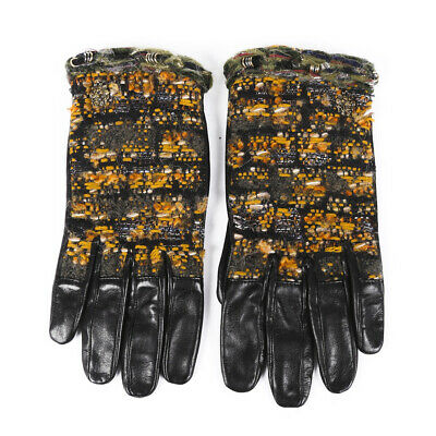 Chanel Tweed Leather Gloves SZ 7.5