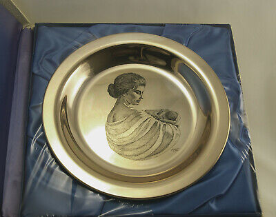 Vintage Franklin Mint Sterling Silver Irene Spenser 1972 Mother and Child Plate