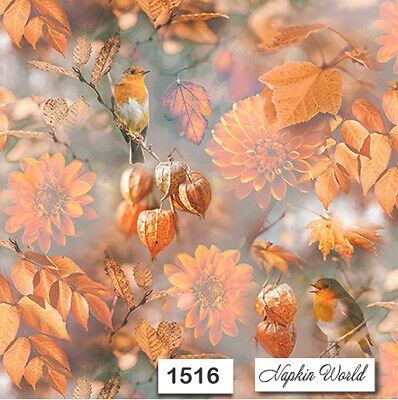(1516) TWO Individual Paper Luncheon Decoupage Napkins - AUTUMN BIRDS LEAVES