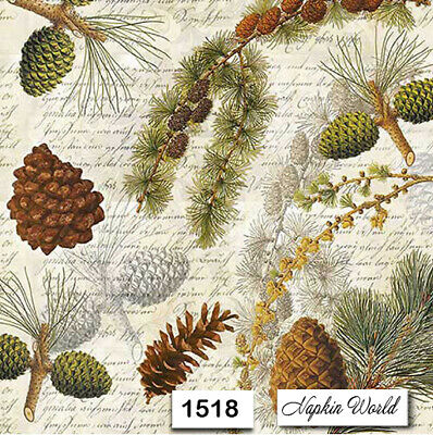 (1518) TWO Individual Paper Luncheon Decoupage Napkins - FOREST PINE SCRIPT CONE