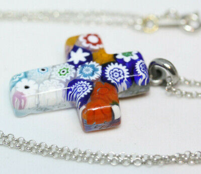 Hand Made Murano Millefiori Cross Pendant Real Sterling Silver Necklace 40CM 16""