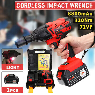 """1/2"""" Square Drive Cordless Impact Wrench 2*Lithium-Ion Battery Rattle Gun Socket"""