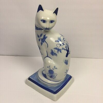 "Vintage Blue/white Cat Figurine Made In Thailand /64  10"" Tall"