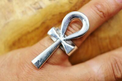 X-Large Antique Silver Ring Band of Ancient Egyptian Ankh Cross Key..Adjustable