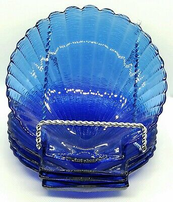 4 Beautiful Arcoroc France Cobalt Blue Glass Coquillage Shell Plates Dishes