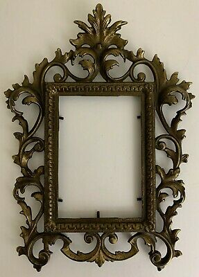 Antique CAST BRASS Victorian Ornate PICTURE FRAME Art Deco Vintage