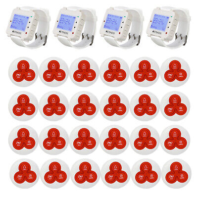 Restaurant Cafe Guest Paging System 4 Watch Receiver White+24*Call Button Pagers