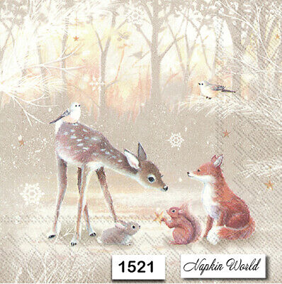 (1521) TWO Individual Paper Luncheon Decoupage Napkins - DEER FOREST ANIMALS FOX