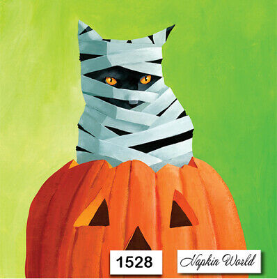 (1528) TWO Individual Paper Luncheon Decoupage Napkins - HALLOWEEN MUMMY CAT