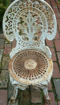 Antique/vintage solid Cast Iron chair - surface rust only easy to clean/repaint