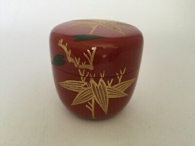 Japanese Tea Ceremony Lacquered Caddy bamboo grass Matcha Green Tea