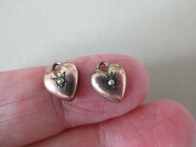 Antique Vintage Victorian Rose Gold F Seed Pearl Heart Charm S Earrings Pendant