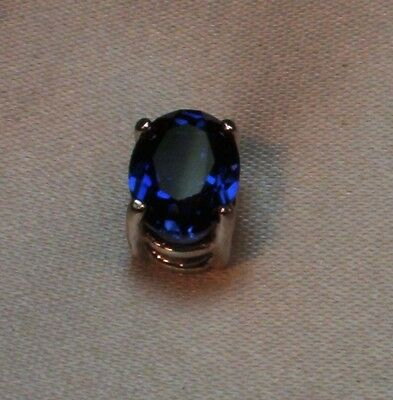 1.5 Ct Oval Created Royal Blue Sapphire Mens Silver Tie Tack Pin