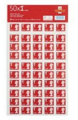Brand New, Royal Mail First Class Large Letter Stamps Sheet (50x2) 100 Stamps