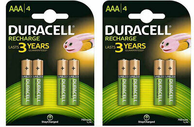 8 X Duracell Piles Rechargeable AAA - 750 MAH HR6 DC1500 Pre Stay Chargé