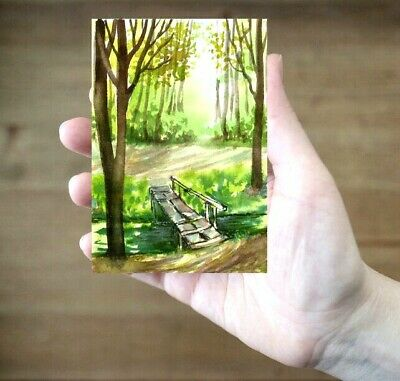 ACEO bridge road painting original Wood trees landscape watercolour art card