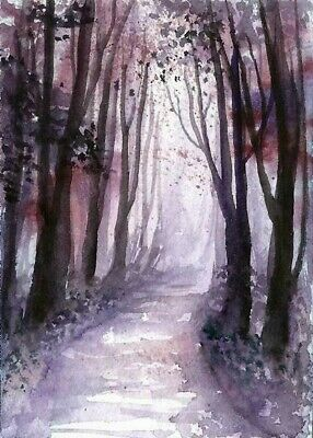 ACEO Autumn road painting original Fall Wood tree landscape watercolour art card