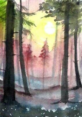 ACEO Autumn sunset trees painting original landscape watercolour art card