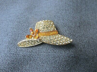 Vintage signed Monet yellow & clear rhinestones & enamel golden hat w flower pin
