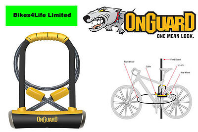 OnGuard Pitbull DT 8005 Bike U Lock with Cable - Sold Secure Gold   LK8005