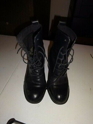 """WOMENS Wild Pair Work Fashion Leather Boots Black Size 6 Lace Up 3"""" Heel"""