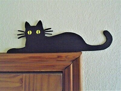 Black Cat Door Topper shelf picture frame wall art 3 mm plywood decor black gift