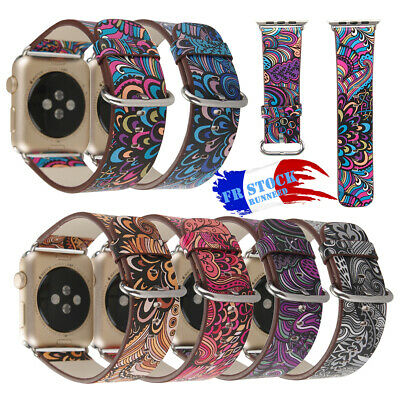 Bracelet pour Montre Apple Watch Mode Motif Floral Imprimé en Cuir 38mm 42mm