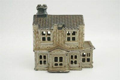 Antique A.C. Williams Colonial House w/ Porch Cast Iron Still Bank Silver