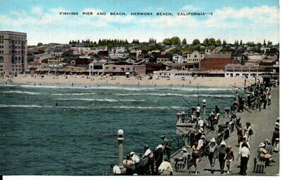 Hermosa Beach CA Town View From The Pier Postcard 1930s
