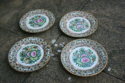 4 Pcs 20th C. Antique Chinese Porcelain Painted Famille Rose Butterfly Plate