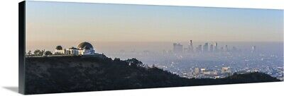 """Los Angeles, California Skyline with the Griffith Observatory - Panoramic"" C"