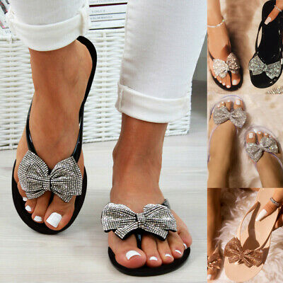 Womens Bowknot Toe Post Sandals Flip Flops Ladies Summer Beach Jelly Shoes Size