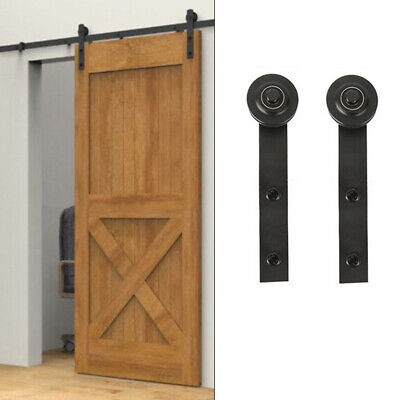 US Sliding Barn Door Hardware Kit Pulley Track Rail Carbon Steel Accessories New