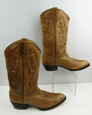 543ebb06d5a MEN'S RUDEL BROWN Leather Round Toe Western Boots Size: 13 EE