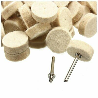20pcs 25mm Wool Felt Polishing Wheel Buffing Pad + 2 Mandrels for Dremel Rotary