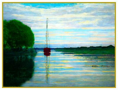 Dusk River View Sail Boat by Artist Piet Mondrian Counted Cross Stitch Pattern