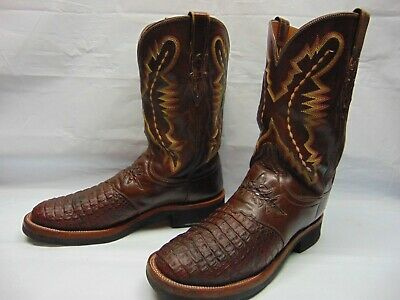dec87bbe0dd LUCCHESE MENS 12 B Brown Hornback Caiman Leather Crepe Soles Western Cowboy  Boot
