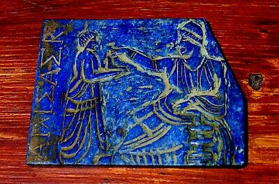 Large Ancient Hand Carved Lapis Stone Slab Depicting Roman Merchant & Servant