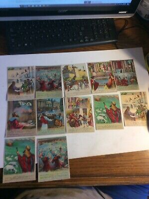 Vintage Lot Of 12 Sunday School Bible Lesson Picture Cards 1920s