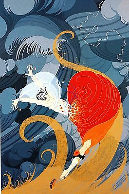 Erte 1987 SWEPT AWAY Wind Storm WINDY DAY Art Deco Matted Print Ready to Frame