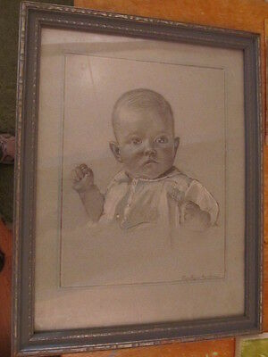 OLD PAINTING charcoal pastel BABY PORTRAIT FRAMED GIBSON MUSEUM OF ART SALE