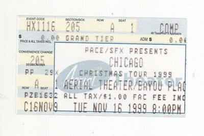 RARE Chicago the band 11/16/99 Houston TX Aerial Theater Concert Ticket Stub!