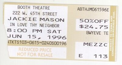 Rare JACKIE MASON 6/15/96 New York City NY Booth Theatre Ticket Stub! NYC