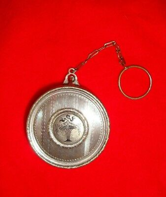 Vintage Silver Compact with Flower Basket in Center with Chain and Finger Ring