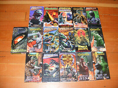 Huge Mega Lot of 17 Different GODZILLA VHS Movies Monsters VS Destroy All Son of