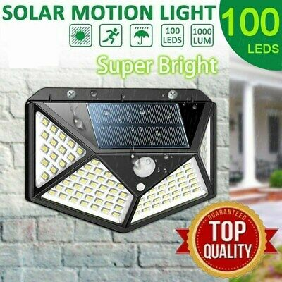 100LED Solar Powered PIR Motion Sensor Wall Security Light Lamp Garden Outdoor #