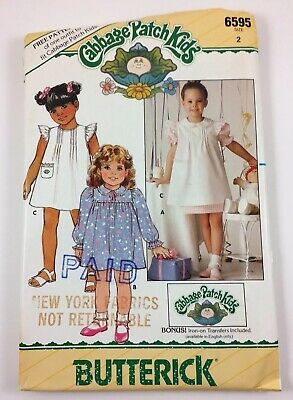 Cabbage Patch Sewing Pattern 6595 Girls Outfit Size 2 Doll Outfit 1984 Butterick