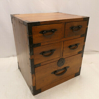 Antique Sugi Wood Small Tansu Chest Box Japanese Drawers Circa 1890s #961